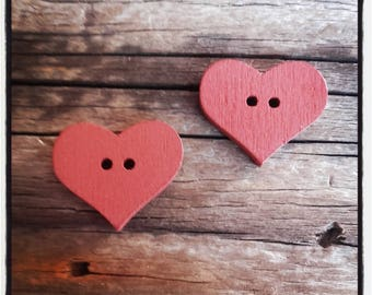 set of 2 heart sewing Brown wooden buttons