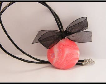 Pink glittery polymer clay pendant necklace.