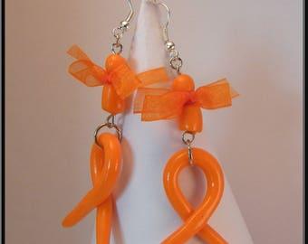 Orange Ribbon in polymer clay earrings