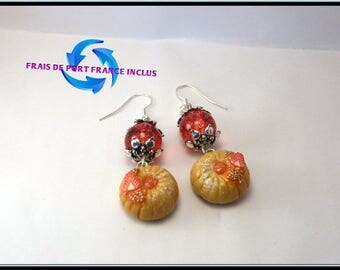 Cake Strawberry polymer clay and Crackle glass bead earrings