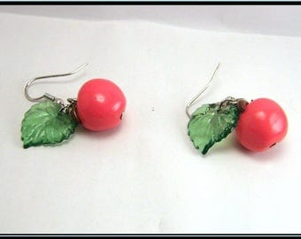Red Apple polymer clay earrings.