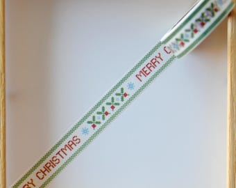"Masking tape - pattern ""MERRY CHRITMAS"" - 1.5 cm x 10 m"