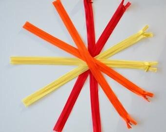 "Zipper INVISIBLE - 40cms - ""Fire"""