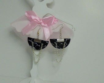 pretty earrings half moon faux leather and silver chain