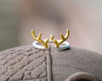 Reindeer Horn Silver & Gold Ring
