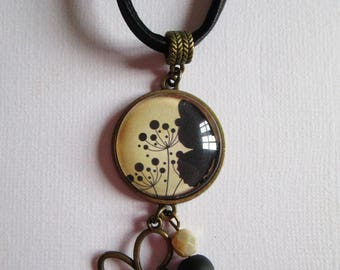 """""""Butterfly"""" bronze cabochon necklace, costume jewelry"""