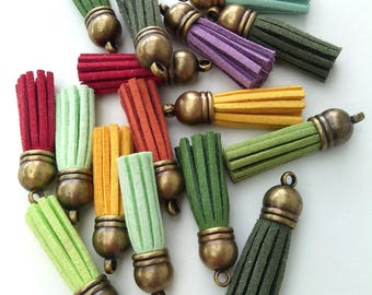 END of series: Set of 16 charms tassel Suede, bronze color, size 35 mm