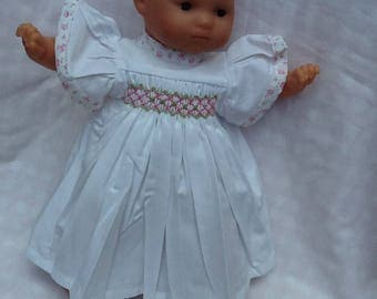 Dress has smocked white frill sleeves doll 36 cm