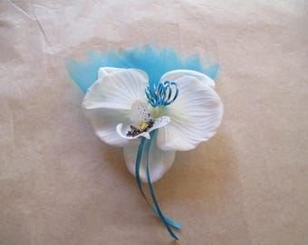 Brooch-wedding - white and turquoise boutonniere