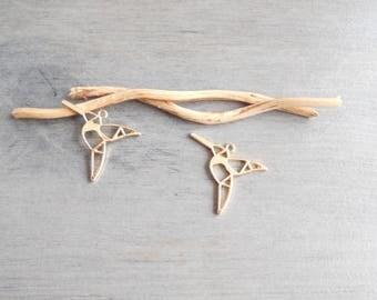 Set of 2 pendants feeder origami gold