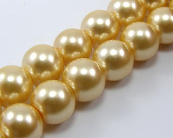 Set of 5 beads 10 mm glass Pearl beige