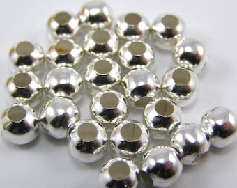 Set of 25 6 mm silver separator beads
