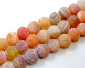 Pearl agate eflorescence 8 mm orange set of 5