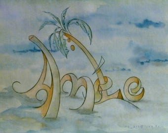 table watercolor name representing Amelie