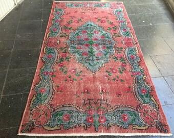 Floor rug,vintage rug,vintage Oushak rug,hallway rug,flower Design rug,Turkish rug,Rugs,carpet,Anatolian rug,Home interior rug.215x116/7×3'8