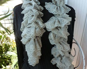 beautiful lace scarf taupe ruffle is entirely hand needles