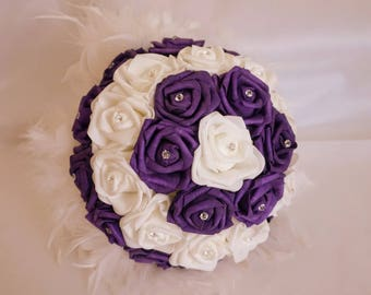 WIRE in purple & white feather bouquet