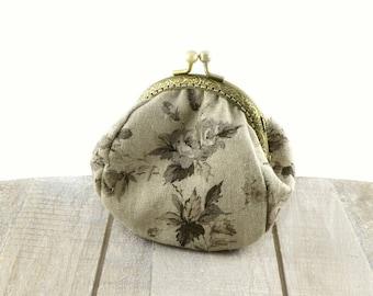 Natural gray linen coin purse