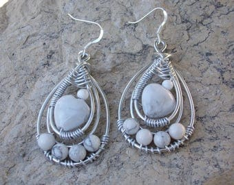 """Earrings howlite white, ceremony, wedding, Silver Aluminum wire, silver hooks, Crystal healing, """"Enchantress"""""""