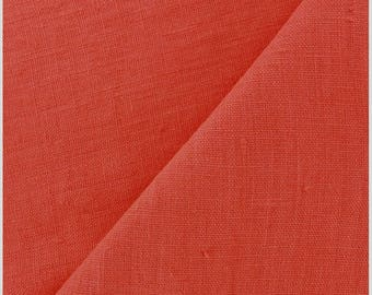 ORANGE rust / plain cotton-linen, premium quality, cut 25cm