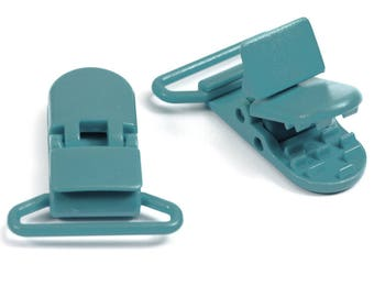 GREY blue CLIP / plastic pacifier clip