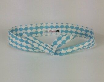 light blue Japanese wave white cotton headband