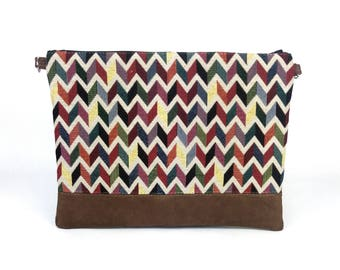 Bag jacquard chevron multi color and Brown velvet fabric