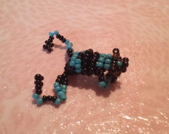 Frog blue and black seed beads
