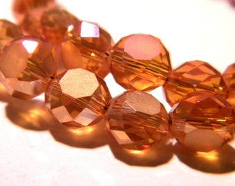 10 glass beads 8x5mm electroplate amber abacus faceted - K59 5 frosted glass rondelles beads