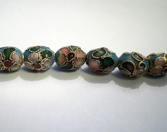 cloisonné Asian turquoise 9 X 7 mm oval bead