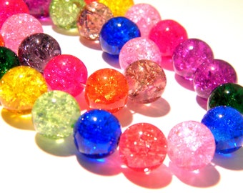 glass - Crackle Glass - multicolor - G140 40 Crackle glass beads - 10 mm bead