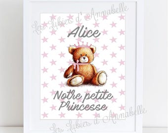 "Baby bear ""Our little Princess"" poster customizable size A4"