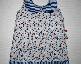 "18/24 months with Peter Pan collar dress ""Poppy sailor"""