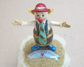"Ron Lee 1986 Clown ""Love Ya This Much""  Bright colors and real Gold on marble stand"