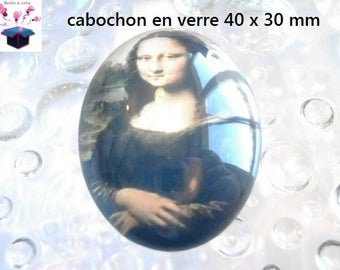 1 cabochon glass 40x30mm theme vintage painting