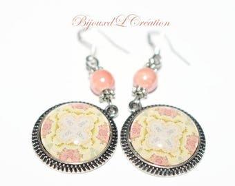 Salmon and yellow arabesque mandala earrings