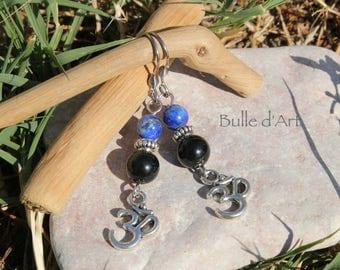 Earrings stones Lapis Lazuli, Obsidian & Ohm
