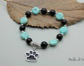 Turquoise stones bracelet, Obsidian & paw