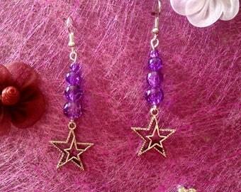 Earrings star and purple bead