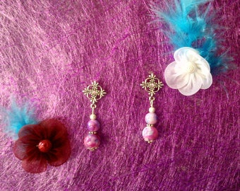 purple blue pink marbled bead earrings