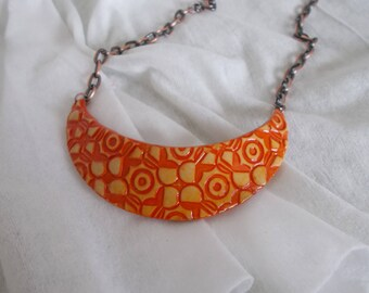 beige and orange clay called polymer bib necklace
