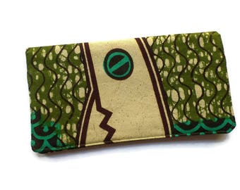 "Checkbook Cover 6.5""x3.5"", Coupons Wallet, Cash Holder in African Wax Fabric, For Him or Her"