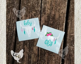 Monogram Boho Skull  Decal - Personalized Cow Skull Decal