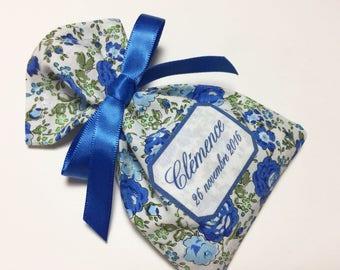 10 bags of sweets customized Poplin blue flowers