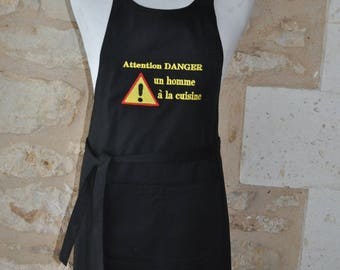 WARNING MAN APRON DANGER MAN IN THE KITCHEN NAME EMBROIDERED