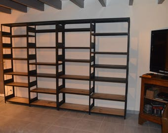 Industrial bookcase Cabinet wood and steel