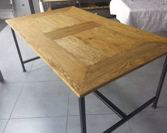 Industrial furniture table dining room wood and steel