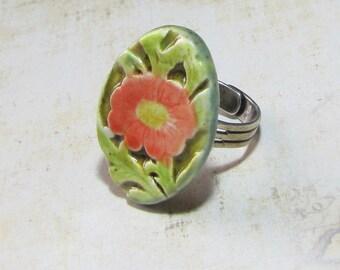 Floral art deco ceramic coral red flower
