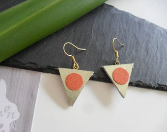Leather with gold tone earrings