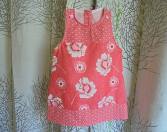 Sundress 18 month hot pink, coral, red and white shape trapeze in poly-cotton.